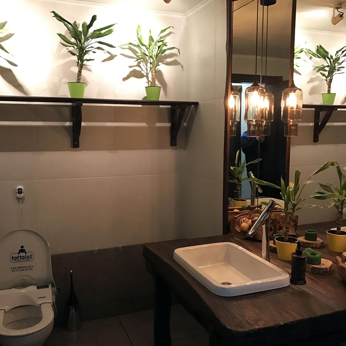 Туалет такой просторный, что в нём можно жить.