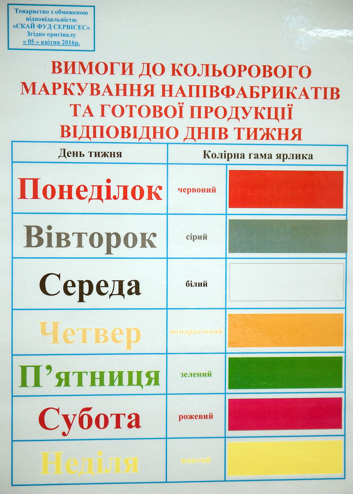 Cрок годности контролируют цветовой гаммой: каждый день имеет свой цвет.